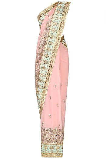 Pale Pink Gota Patti Work Saree, Blouse and Petticoat Set by RANA'S by Kshitija