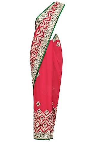 Red Gota Patti Work Saree and Blouse Set by RANA'S by Kshitija