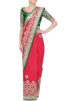 Red Gota Patti Work Saree and Blouse Set by RANA'S by Kshitija
