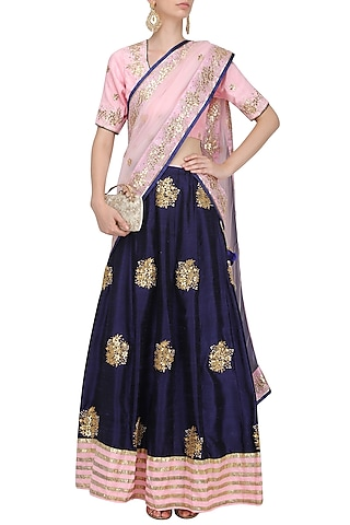 Deep Blue and Pink Embroidered Lehenga Set by RANA'S by Kshitija