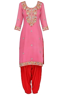 Pink Floral Embroidered Kurta Set by RANA'S by Kshitija