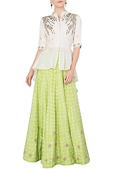 Off White Embroidered Peplum Top with Lime Green Lehenga Skirt by Koashee By Shubhitaa