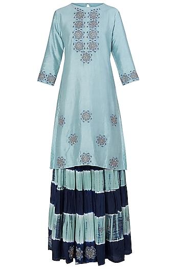 Blue Embroidered Kurta with Leheriya Sharara Pants by Koashee By Shubhitaa