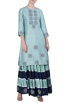 Blue Embroidered Kurta with Leheriya Sharara Pants by Koashee By Shubhitaa