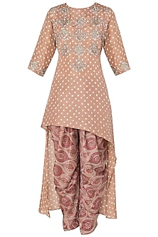 Caramel Brown Asymmetrical Embroidered Kurta with Printed Dhoti Pants by Koashee By Shubhitaa