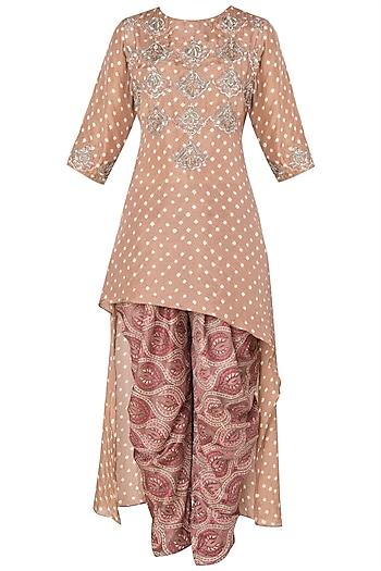 Caramel Brown Asymmetrical Embroidered Kurta with Printed Dhoti Pants by Koashee By Shubhitaa