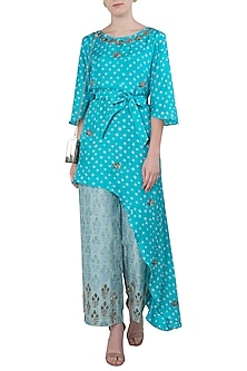 Aqua Blue Asymmetrical Embroidered Kurta with Printed Pants by Koashee By Shubhitaa