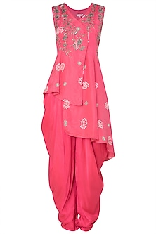 Pink Asymmetrical Embroidered Kurta with Dhoti Pants by Koashee By Shubhitaa