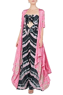 Pink Embroidered Cape with Leheriya Gown by Koashee By Shubhitaa