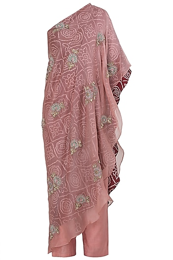 Blush Pink Asymmetrical Embroidered Top with Pants by Koashee By Shubhitaa