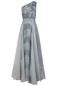 Grey and Blue Embroidered One Shoulder Leheriya Gown by Koashee By Shubhitaa