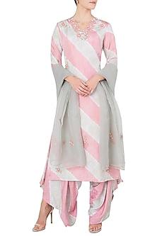 Blush Pink Embroidered Leheriya Kurta Set by Koashee By Shubhitaa
