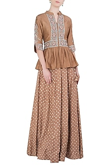 Caramel Brown Embroidered Peplum Top with Bandhani Lehenga Skirt by Koashee By Shubhitaa