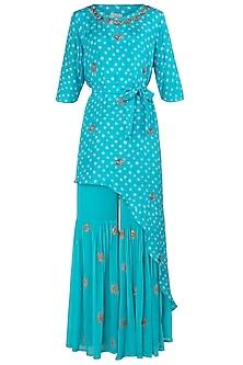 Aqua Blue Asymmetrical Embroidered Kurta with Sharara Pants by Koashee By Shubhitaa