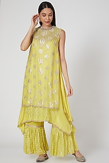 Yellow Embroidered Layered Tunic Set by Keith Gomes