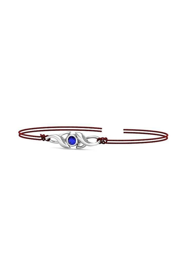 Silver Blue Stone Bracelet Rakhi In Sterling Silver by KuberBox