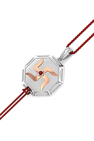 Gold Finish Swastik Bracelet Rakhi In Sterling Silver by KuberBox