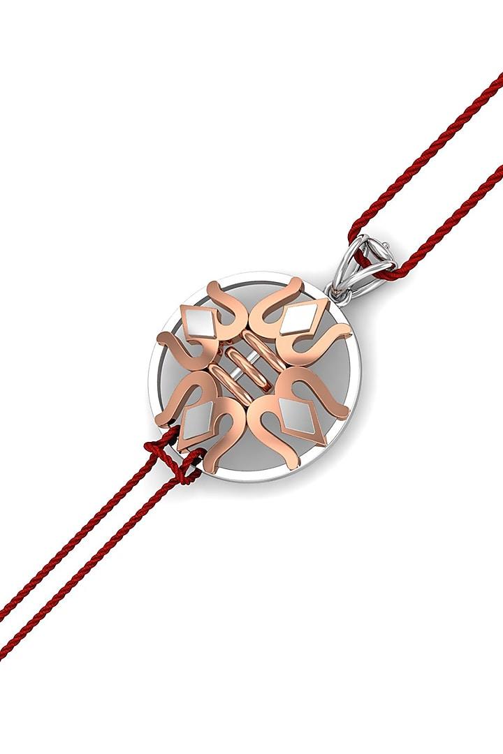 Gold Finish Trishul Bracelet Rakhi In Sterling Silver by KuberBox