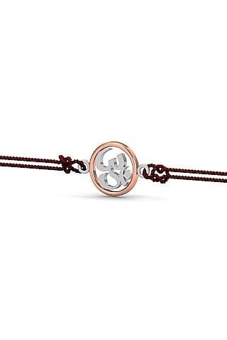 Silver Om Bracelet Rakhi In Sterling Silver by KuberBox