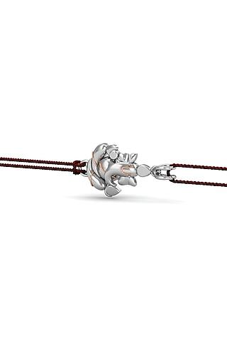 Silver Ganesha Bracelet Rakhi In Sterling Silver by KuberBox