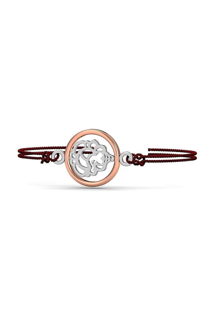 Silver Ganesha Round Bracelet Rakhi In Sterling Silver by KuberBox