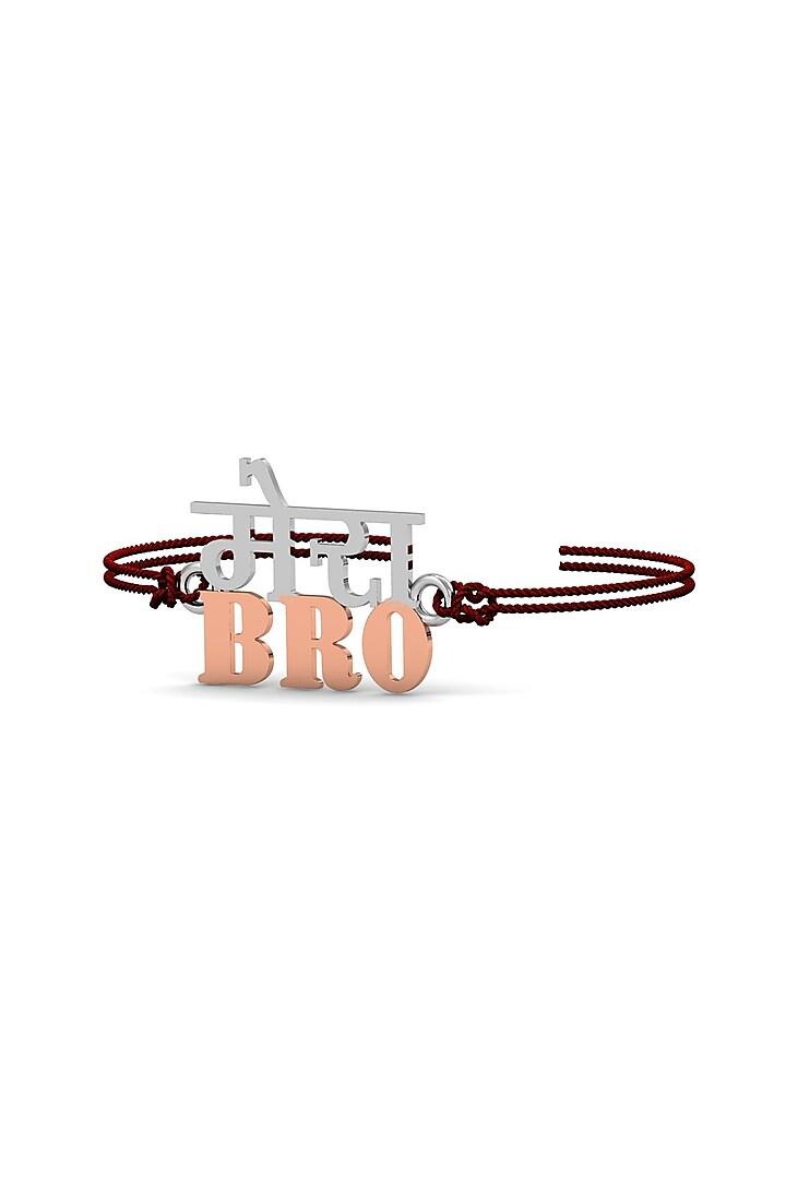 Silver Modern Bracelet Rakhi In Sterling Silver by KuberBox