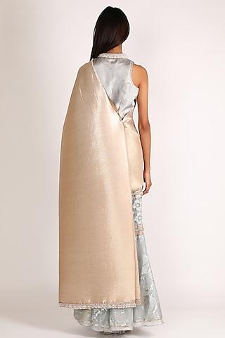 Aqua Blue & Gold Embroidered Skirt Saree Set by Kiran Uttam Ghosh