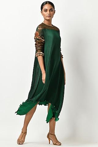 Emerald Green Kalamkari Kaftan by Kiran Uttam Ghosh