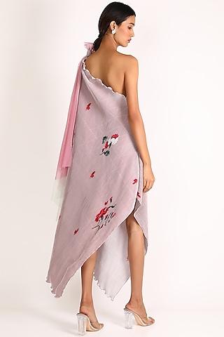 Blush Pink Printed One Shoulder Dress by Kiran Uttam Ghosh