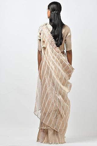 Ivory & Gold Skirt Set With Drape by Kiran Uttam Ghosh