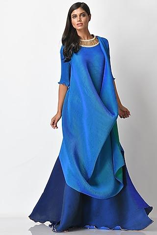Cobalt Blue Pleated Dress by Kiran Uttam Ghosh