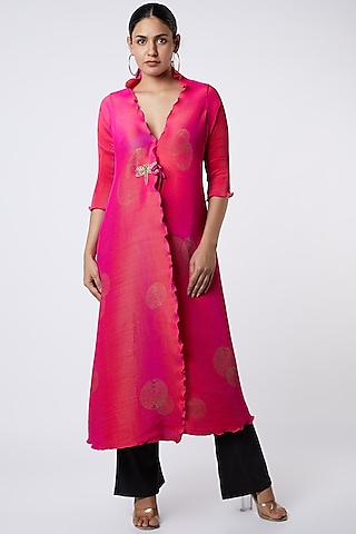 Fuschia Pleated Polyester Angarkha Kurta by Kiran Uttam Ghosh