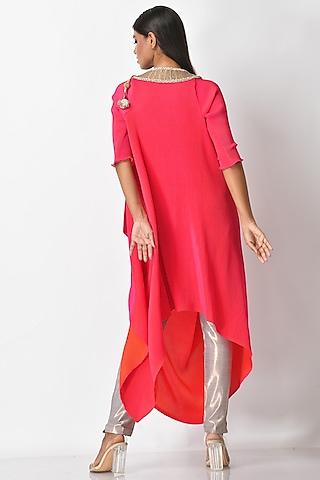 Fuchsia Pink Pleated Dress by Kiran Uttam Ghosh