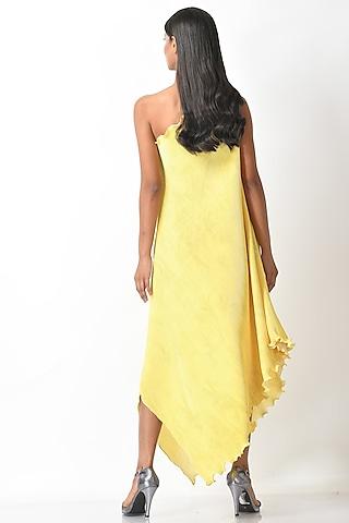 Yellow Pleated One Shoulder Dress by Kiran Uttam Ghosh