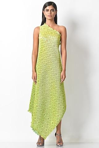 Lime Green Printed Pleated Dress by Kiran Uttam Ghosh