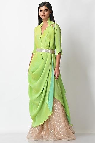 Lime Printed Pleated Dress by Kiran Uttam Ghosh