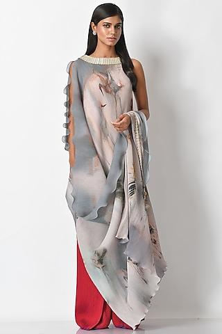 White Embroidered & Draped Dress by Kiran Uttam Ghosh