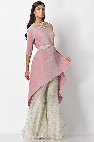 Baby Pink Embroidered Tunic by Kiran Uttam Ghosh