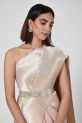 Silver Pleated Polyester Hexagon Belt by Kiran Uttam Ghosh