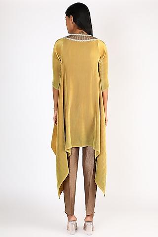 Mustard Embroidered Pleated Dress by Kiran Uttam Ghosh