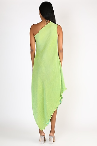 Lime Green Pleated One Shoulder Dress by Kiran Uttam Ghosh