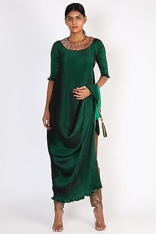 Emerald Green Embroidered Draped Dress by Kiran Uttam Ghosh
