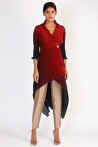 Red Printed Draped Dress by Kiran Uttam Ghosh