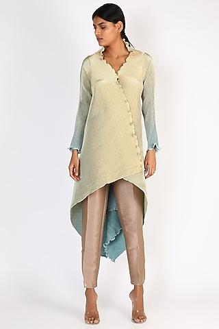 Powder Blue & Lemon Printed Dress by Kiran Uttam Ghosh