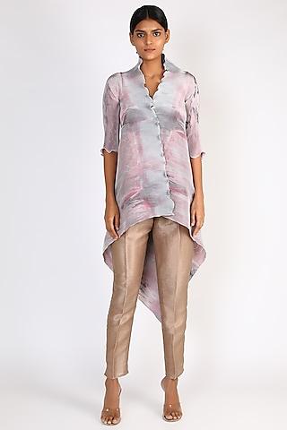Salmon Pink Printed Wrap Dress by Kiran Uttam Ghosh