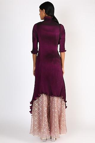 Blackberry Blue Draped Dress by Kiran Uttam Ghosh