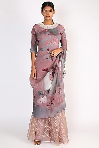 Salmon Pink Digital Printed Wrap Dress by Kiran Uttam Ghosh