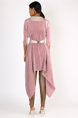 Baby Pink Embroidered Dress by Kiran Uttam Ghosh