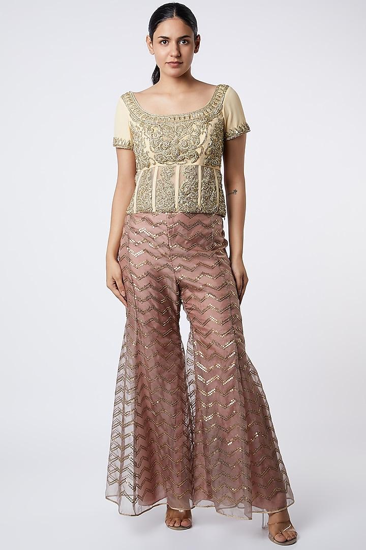Beige Embroidered Sharara Pants by Kiran Uttam Ghosh