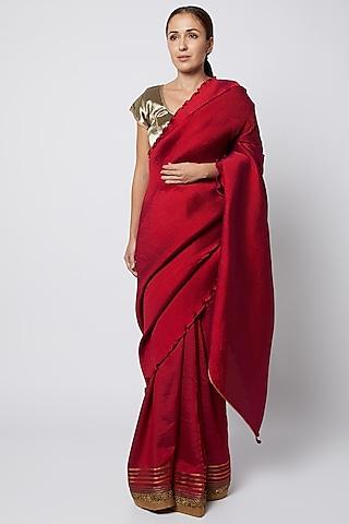 Red Embroidered Saree by Kiran Uttam Ghosh
